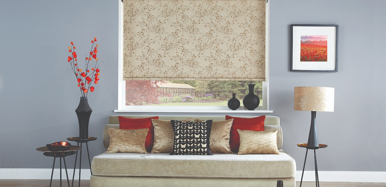 Cassetted Roller Blind in 'Collina Antique Gold Bronze'