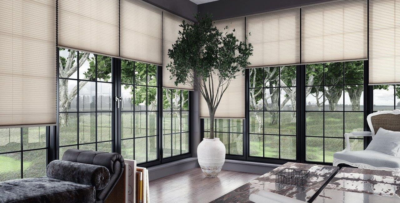Free Hanging Pleated Blinds in 'Infusion asc Ivory'
