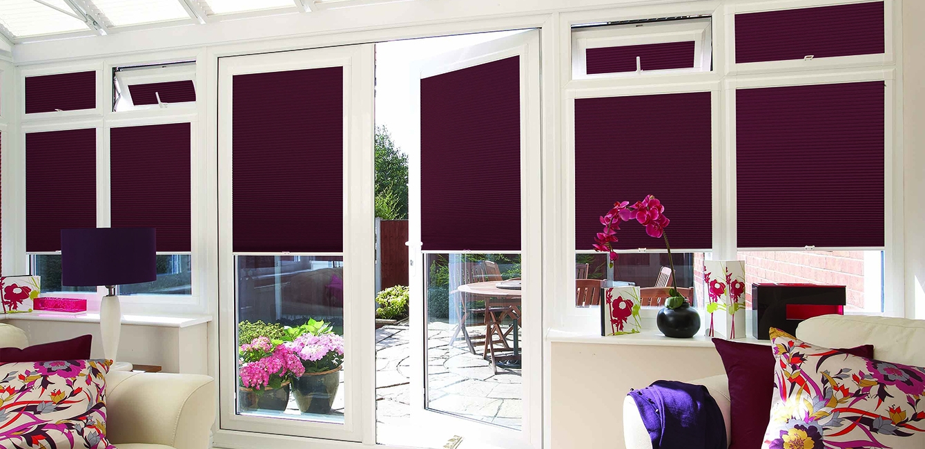 Perfect Fit Cellular Blinds in 'Shot Silk Burgundy'