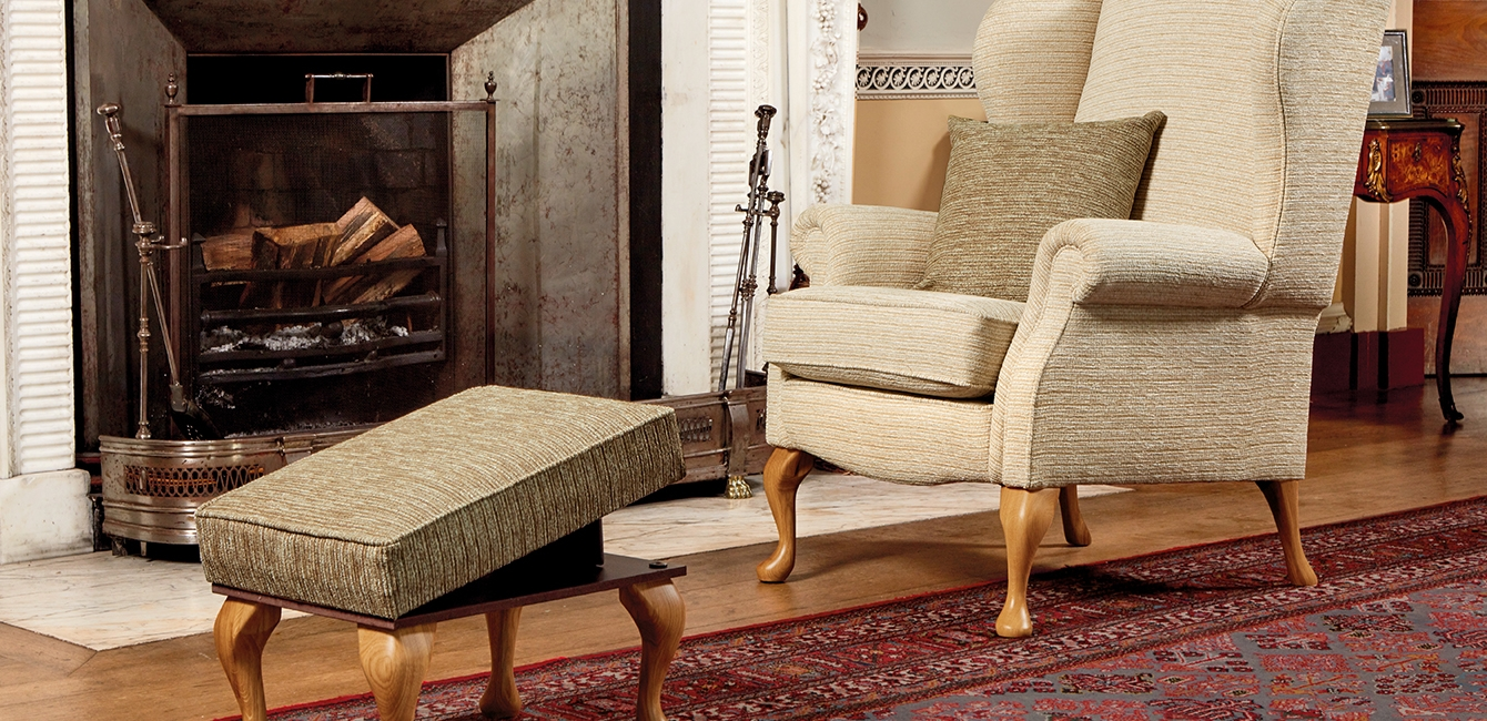 Kensington Fireside Chair in 'Tuscany Oatmeal' with Leg Rest Stool