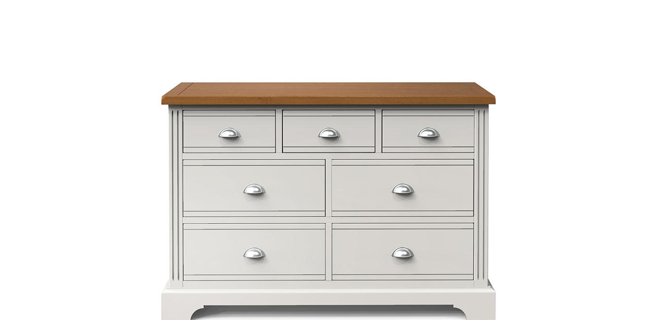 7 Drawer Painted Chest with Oak Top