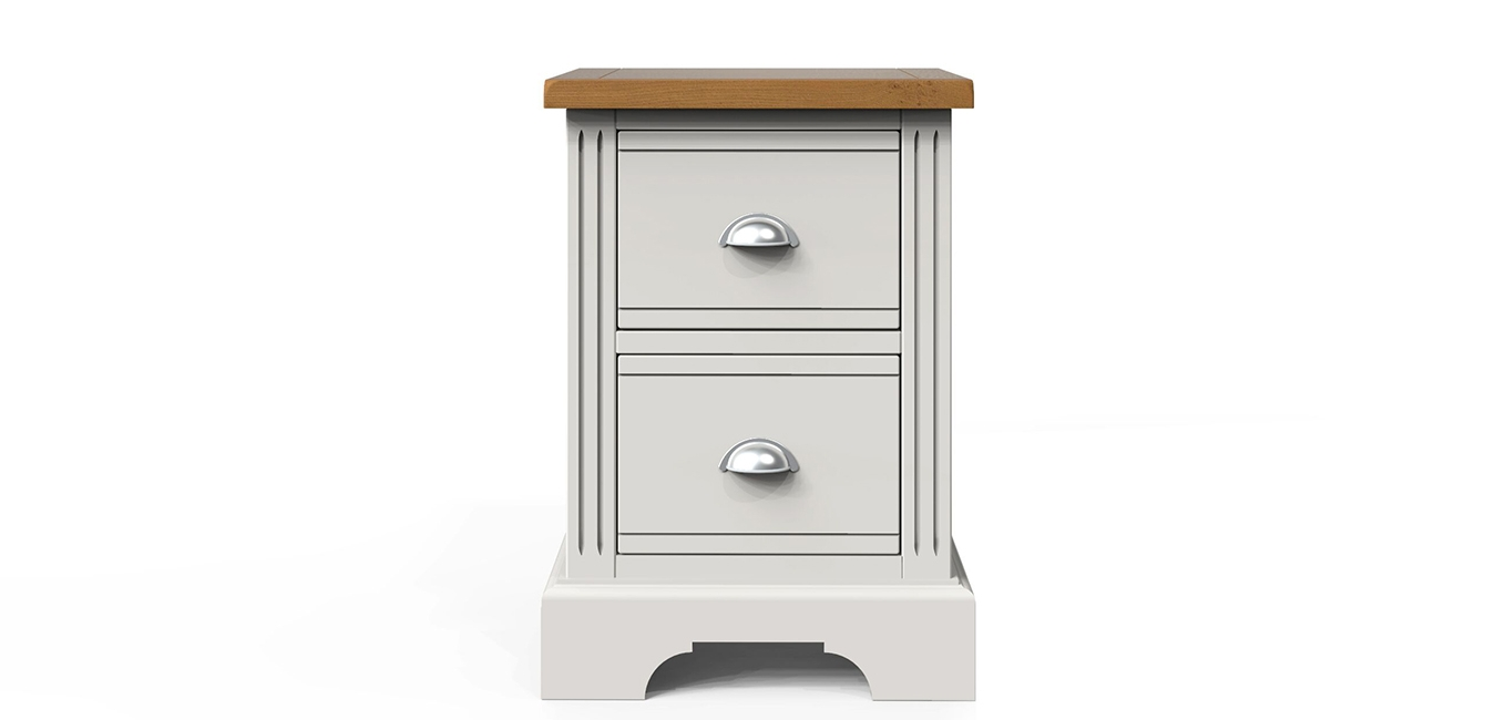 2 Drawer Painted Bedside Table with Oak Top