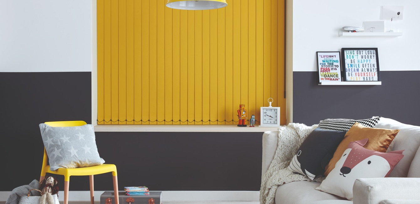 Vertical Blinds in 'Carnival Canary'
