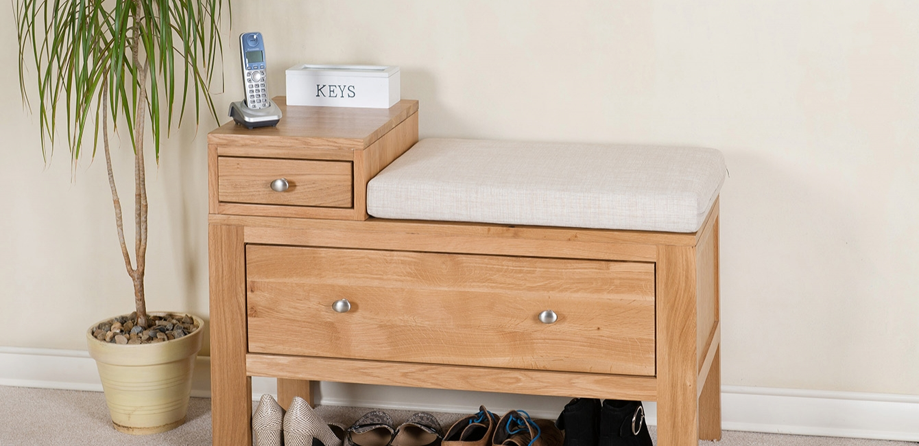 Oak Hall Tidy with storage and seat cushion