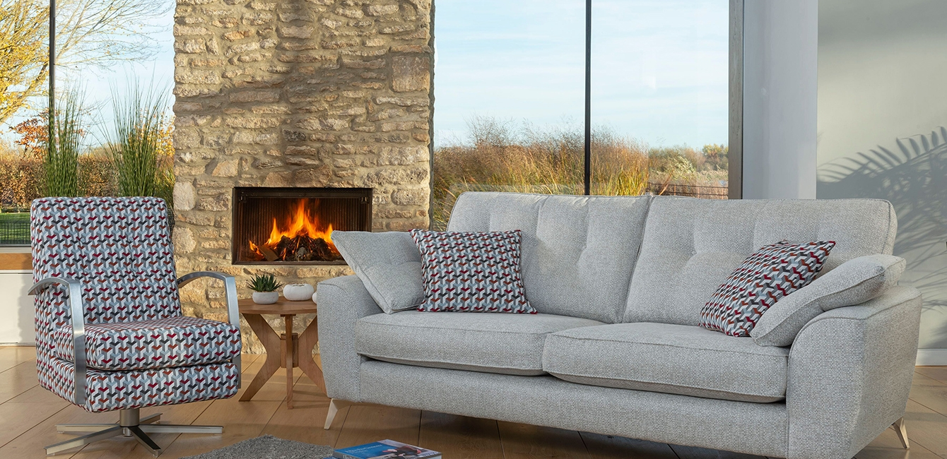 Savannah 4 Seater Sofa with Accent Swivel Chair