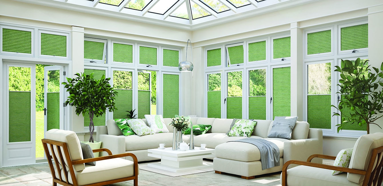 Perfect-Fit Pleated Conservatory Blinds in 'Belize Leaf'