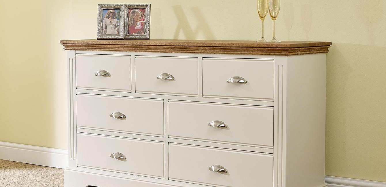 'Kensington' 7 Drawer Multi Chest with Oak Top