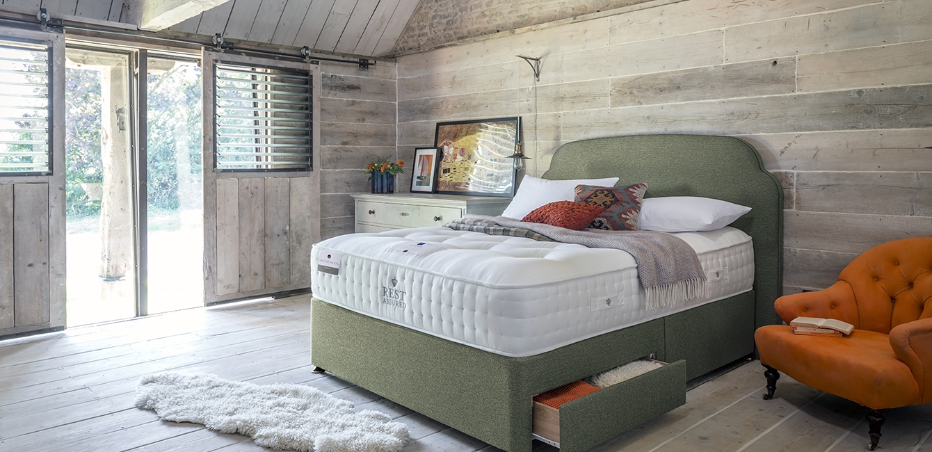 Berwick Cashmere Mattress with 2 Drawer Divan Storage & Bronte Headboard upholstered in 'Jade'